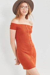 Silence And Noise Button Down Off The Shoulder Dress Rust