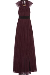 Burberry Backless Flocked Cotton Tulle Gown Merlot