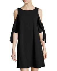 Taylor Chiffon Sleeve Crepe Shift Dress Black