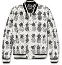 Dolce And Gabbana Pineapple Print Shell Bomber Jacket Off White