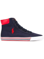 Polo Ralph Lauren Logo Embroidered Hi Top Sneakers Blue