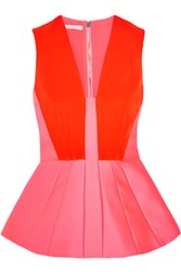 Antonio Berardi Satin Peplum Top Bright Pink