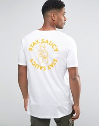 Asos Longline T Shirt With Stay Saucy Chest And Back Print In Relaxed Skater Fit White