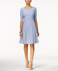 Jessica Howard Printed Elbow Sleeve Fit And Flare Dress Medium Blue