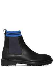 Lanvin 40Mm Leather And Knit Chelsea Boots Black