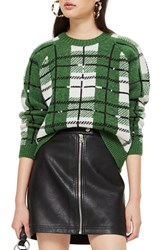 Topshop Sequin Plaid Sweater Green Multi