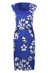 Roman Originals Peplum Floral Shift Dress Blue