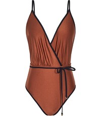 Reiss Tahlia Plunge Wrap Front Swimsuit In Bronze