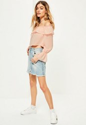 Missguided Petite Exclusive Pink Frill Chiffon Blouse