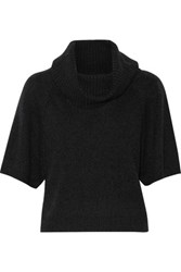 Alice Olivia Cropped Wool Blend Turtleneck Sweater Charcoal