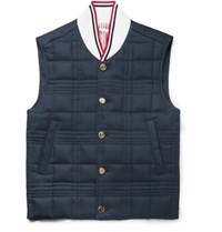Thom Browne Quilted Cotton Twill Down Gilet Navy