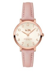 Coach Slim Easton Sunray Dial Leather Watch Pink