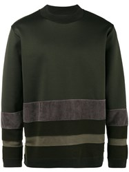 White Mountaineering Mock Neck Stripe Sweatshirt Cotton Acrylic Nylon Wool Green