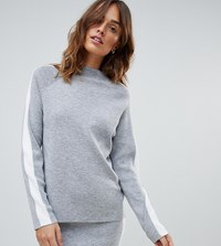 Micha Lounge High Neck Jumper With Side Stripe Co Ord Grey