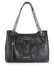 Valentino By Mario Valentino Verra Logo Embossed Leather Tote Black
