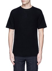 Alexander Wang Waffle Knit Short Sleeve Sweater Black