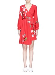 Helen Lee 'Flying Bunny' Print Wrap Crepe Dress Red