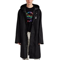 Vetements Bar Code Print Oversized Long Raincoat Black