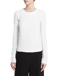 Alexander Wang Long Sleeve Blouse W Ball And Chain Trim Sterile White Size 6 Sterile White