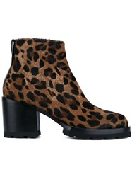 Dries Van Noten Leopard Print Ankle Boots Brown