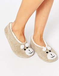 Totes Novelty Footsie Slippers Lightbrown