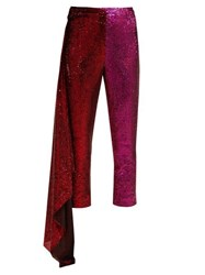 Halpern Draped Sequin Embellished Trousers Red Multi