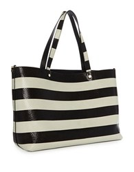 Luana Italy Carlyle Reversible Snake Embossed Leather Tote Black White