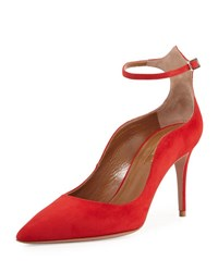 Aquazzura Dolce Vita Suede 85Mm Ankle Strap Pump Red