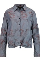7 For All Mankind Printed Tie Front Cotton Chambray Shirt Mid Denim