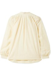 Hatch The Athena Pleated Cotton And Wool Blend Voile Blouse Ivory