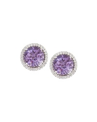 Neiman Marcus 14K Amethyst And Diamond Halo Stud Earrings Women's