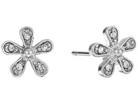 Lauren Ralph Lauren Small Flower Stud Earrings Pearl Crystal Earring Silver
