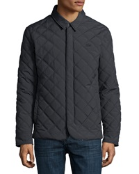 Lacoste Quilted Button Up Jacket Charcoal