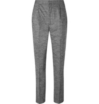 Camoshita Light Grey Slim Fit Pleated Puppytooth Wool Blend Suit Trousers Gray
