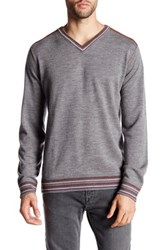 Robert Graham V Neck Print Long Sleeve Classic Fit Wool Sweater Gray
