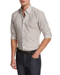 Ermenegildo Zegna Melange Striped Sport Shirt Tan Md Bgestrp