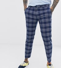 Noak Skinny Fit Smart Trouser In Blue Check