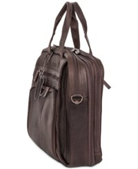 Kenneth Cole Reaction Columbian Leather Expandable Double Gusset Laptop Brief Dark Brown