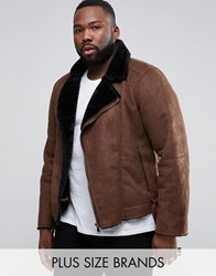 Barney's Barneys Plus Faux Shearling Biker Jacket Brown