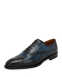 Bally Skimor Leather Lace Up Oxford Blue
