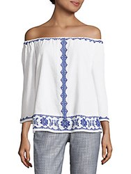 Beach Lunch Lounge Embroidered Cotton Blouse White Blue