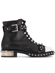Alexander Mcqueen Studded Metal Toecap Boots Women Leather 39 Black