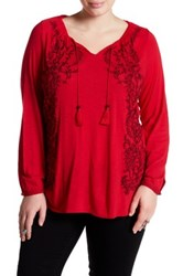 Lucky Brand Embroidered Peasant Blouse Plus Size