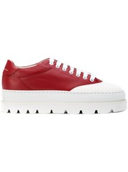 Maison Martin Margiela Mm6 Platform Lace Up Sneakers Red