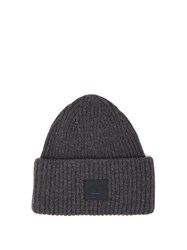 Acne Studios Pansy Ribbed Knit Wool Beanie Hat Grey