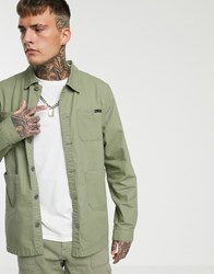 Liquor N Poker Long Sleeve Worker Shirt In Green