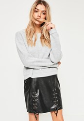 Missguided Black Eyelet Lace Up Faux Leather Mini Skirt