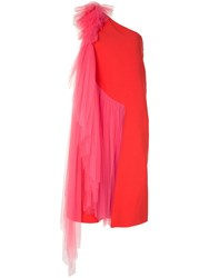 Delpozo Tulle One Shoulder Dress Red