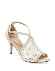 Nanette By Nanette Lepore Bella Suede And Crochet Ankle Strap Stilettos Ivory