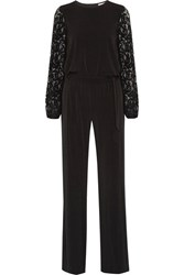 Michael Michael Kors Guipure Lace Paneled Stretch Jersey Jumpsuit Black